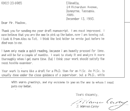 Letter (1993) from Professor Carey making comment on James' M.Sc. manuscript, and offering to pass on his Expanding Earth baton.